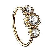 Piersando Universal Piercing Ring für Septum Tragus Helix Ohr Nase Lippe Brust Intim mit 3 Strass Kristallen Rosegold Vergoldet Clear