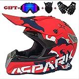 Erwachsene Motorrad-Motocross Motorbike Helme D.O.T Standard Children Quad Bike ATV Go Karting Helm (Handschuhe, Brille, Maske, 4 Set) (S, M, L, XL, XXL),Red,XL