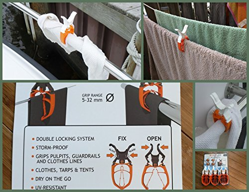 FIXCLIP, The Storm-proof & Lockable Clip, Keeps your towels on board! 6-Pack white, Durable clothespins for Boats, Guardrails, RVs - Caravan tents, Camping, Fishing, Balconies, Hangers, Strollers. Test