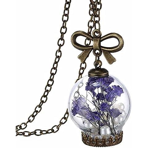 Auspicious beginning Gioielli fatti a mano signore Fiore secco fiala di vetro libera sfera di desiderio bottiglia della collana del pere