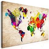 murando Quadro Mega XXXL Mappamondo 170x85 cm Straordinario Stampa su Tela XXXL per Un Facile Montaggio Fai da Te Grande Immagini Moderni Murale DIY Decorazione da Parete colorato k-C-0083-ak-e
