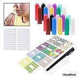Kare & Kind nasal Inhalationsrohrset enthält: 20 leere Naseninhalationsrohre (mit Dochte) in 10 verschiedenen Farben, 20 zusätzliche Dochte, 1 Öffnungswerkzeug, 44 beschreibbare Aufkleber, 2 Mini-Pipette und 1 Stift