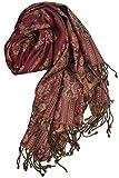 Pashmina - Sciarpa calda ed elegante dal Punjab, India, disegno Paisley, 180 x 70 cm - 60% seta, 40% lana, rosso