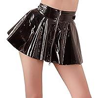 Sexy Mujer Minifalda de barniz con cremallera de 2Vías S–XL Negro Black niveles