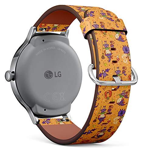 Art-Strap Kompatibel mit für LG Watch Style - Leder-Armband Uhrenarmband Ersatzarmbänder mit Schnellverschluss (Cartoon Halloween lustig)