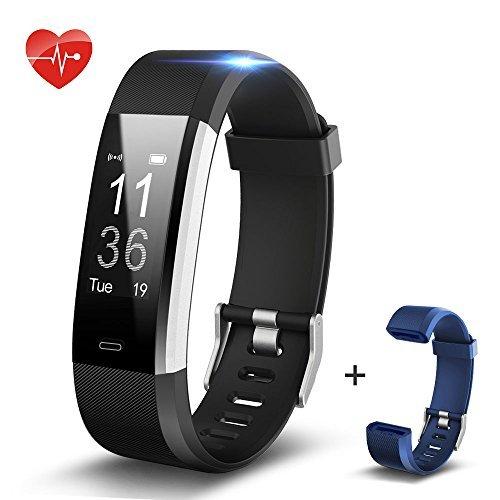 SHONCO Schrittzähler Fitness Armband mit Pulsmesser Wasserdicht Bluetooth Activity Tracker Smart Sportband Fitness Tracker Wristband mit Gesundheit schlafen Monitor für iPhone Android Handys