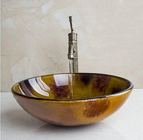 Von Hand Bemalt, Bad (Gowe handbemalt Art Victory Spülen/Vessel Becken mit Badezimmer Wasserhahn Waschbecken Set mit Wasserablauf)