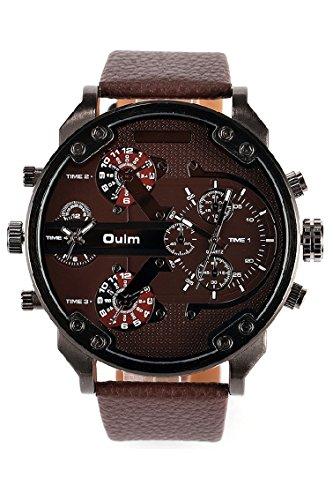 Vococal®Oulm 3548 Herren Uhr Armbanduhr mit vier Zeitzone Bewegung große Runde Zifferblatt PU Leder Watch Strap Outdoor Sport Herrenuhr Männer Uhren braun