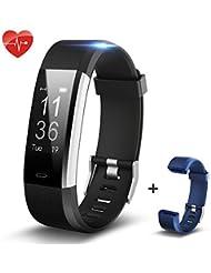 Bracelet Fitness,SHONCO Podomètre Imperméable Bluetooth Montre Tracker d'activité Smart Sport Cardiofréquencemètre Watch Fitness Tracker Compteur de Calories pour enfants femmes hommes