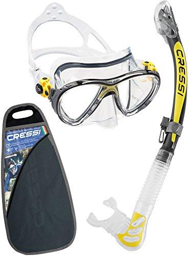 Cressi Big Eyes Evo & Kappa Ultra Dry Combo Set per Snorkelling, Trasparente/Giallo [Prodotto in Italia]