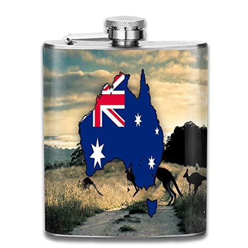 Leere Karte von Australien tragbare Flachmann - 7oz Edelstahl Flasche Pocket Liquor zum Klettern Bar Party Men Top Geschenk