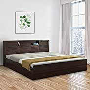 HomeTown Bolton Engineered Wood Hydraulic Storage King Size Bed in Wenge Colour