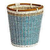 GYZS Idyllischer kreativer Rattan-Abfalleimer-Hauptwohnzimmer-Schlafzimmer-Gesponnener überschüssiger Papierkorb chinesischer Stroh-Abfallkorb ohne Abdeckung (Farbe : Blau)