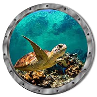 "DNVEN (11""w X 11""h) 3D Undersea Tropical Fishes Shark Sea Turtles Porthole Window View Faux Submarine Murals Decals Removable Wall Stickers for Bedrooms Home Arts"