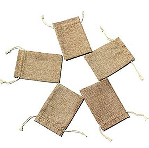 Gespout 5 Stcks Natur Jutesäckchen Stoffbeutel Beutel Schmuck Beutel Mini Tasche Geschenksäckchen in 2 verschiedenen Größen für Organizer DIY Handwerk Hochzeitfeier Geschenke Süßigkeiten Taschen - Beutel Organizer Schmuck