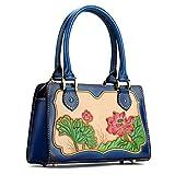 AN KANG LEATHER Handtaschen Handtaschen neue erste Schicht aus Leder Baum Creme Haut retro chinesischen Stil Persönlichkeit Lotus Stereotypen Paket (Angepasst)