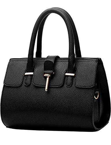 Menschwear Leather Tote Bag lucida PU nuove signore borsa a tracolla Nero Nero