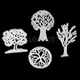 ELECTROPRIME 4X Tree Design Cutting Dies Stencil for Scrapbooking Album Paper Embossing