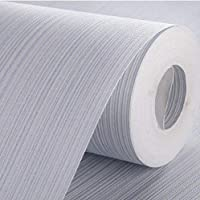 AdorabPaper Contact Paper Wallpaper Non-Woven Fabric Modern Minimalist Solid Color Vertical Stripes Hotel Bedroom Living Room Wall Blue 53X950CM