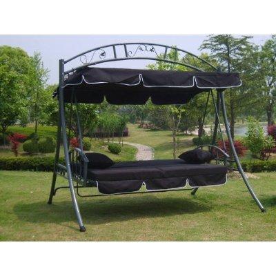 LUXUS Hollywoodschaukel-Gartenschaukel mit Bettfunktion -Breite 215cm-Höhe 219cm-Tiefe 160cm -Modell:GEA-schwarz -Belastung 200Kg