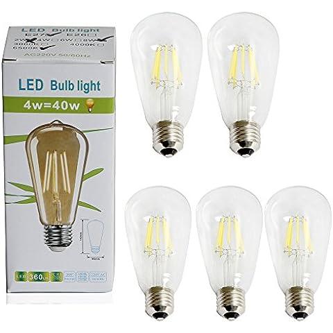 Sidiou Group Retro lampada a LED a risparmio energetico della lampada led lampadina lampada d'epoca Edison luce E27 di base pacchetto di 5 (Warm White-8w 5PACK)