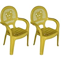 Resol Childrens Kids Garden Outdoor Plastic Chair - Yellow - Childs Furniture (Pack of 2 Chairs)