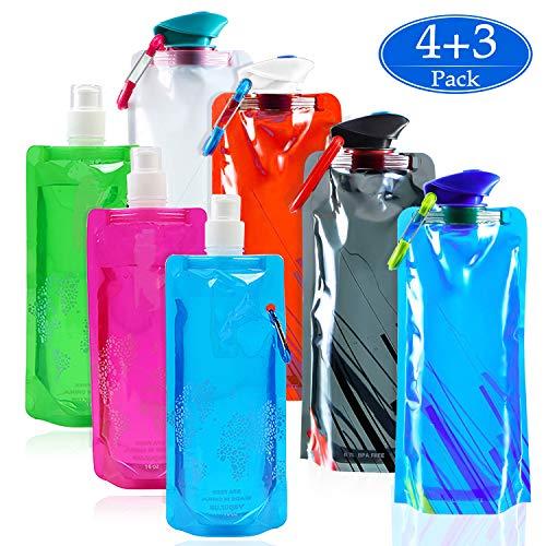 SANTOO 7 STK Faltbare Trinkflasche 4X 700ML UND 3X 500ML Wasserflaschen Set Trinkrucksäcke Trinkbeutel Tragbare Trinkblase Falten Wassertasche für Wandern Laufen Zelten Radfahren Reisen