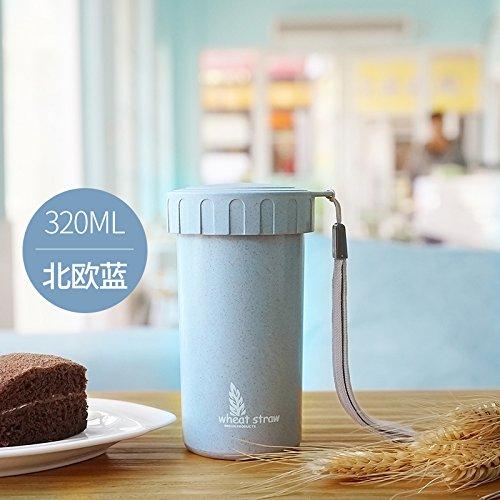 LKJH* Kreative Weizen portable cup Studentenbewegung an ihren Fingerspitzen Wasser Schüssel mit Deckel, das Kind zu begleiten, Plastikbecher, den Nordischen blau 320ML UND WIRD EINGEFÜGT