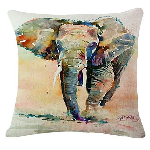 Ogquaton Durable 45 cm * 45 cm Tinta Impresión Impresión Funda de cojín Elefante Animal Cojines Decorativos Cubierta para Coche Coche Sofá Sofá Funda de Almohada Azul Marino D
