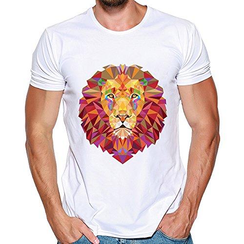 Herren Shirt Kurz Ärmel Löwe Printing Tee FantaisieZ Rundhalsausschnitt Mode Casual Kurzarmhemd Elastisch Slim Kurzarmshirt Oberteile ()
