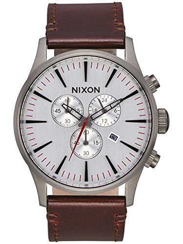 Nixon Sentry Chrono Leather Gunmetal / Silver / Dark Brown