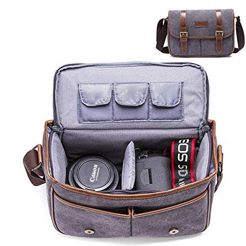 Borsa a Tracolla per Fotocamera, Beaspire Borsa messenger grande per fotocamera reflex e accessori (Gamba) Grigio