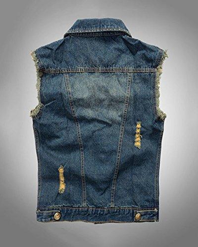 Herren Ärmellose Zerrissene Jeans Weste Denim Jacke Weste Slim Fit Beiläufige Weste Jeansweste Blau