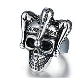 Beydodo Schmuck Gothic Ring Edelstahl für Männer Clown Skelett Gothic Ring Herren Silber Freundschaftsring Größe 62 (19.7)