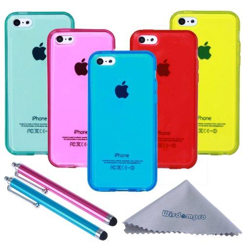 iPhone 5C Hülle, Wisdompro® 3-Teilig Bundle-Paket Farben und Grafik, Weiches TPU-Gel, Schutzhülle für das iPhone 5C (Blumen-Schmetterling-Musterung) multi