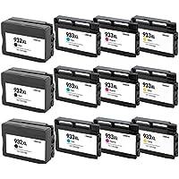 Prestige Cartridge HP 932XL / HP 933XL 12 Cartucce d'Inchiostro Compatibile per Stampanti HP Officejet Serie, Nero/Ciano/Magenta/Giallo