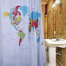 Creative patrón de diseño mapa del mundo impermeable cortina de ducha cortina de baño de poliéster con hebillas de plástico 12