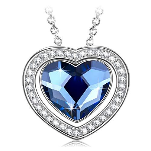 Alex Perry geschenk fur frauen weihanchten kette damen swarovski blau kristall kette silberkette damen 925 schmuck damen modeschmuck geschenke für freundin mama festival schmuck herz halskette