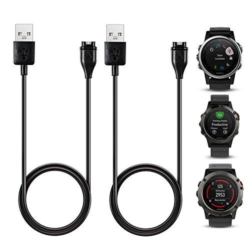 [2-pièces] Chargeur TUSITA pour GARMIN Fenix 5 / 5S / 5X / Forerunner 935 /Approach S60/Quatix 5/ Quatix 5 Sapphire, Câble de rechange USB rechargeable Cordon de charge pour GARMIN GPS Watch