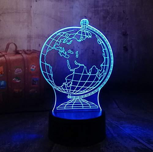 3D Illusion Light Luz Nocturna Creativo 3D Globo Terráqueo Led Visual Noche Colorida Luz Ilusión Mesa Bebé Dormir Noche Lámpara Niño Niño Vacaciones Regalo De Navidad