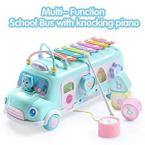 Howard multifunktionale schulbus klavierspielzeug, Auto Spiel Spiel Bus mit Block xylophon musikinstrumente ziehen pädagogische lernfahrzeug Auto Spielzeug für Kinder