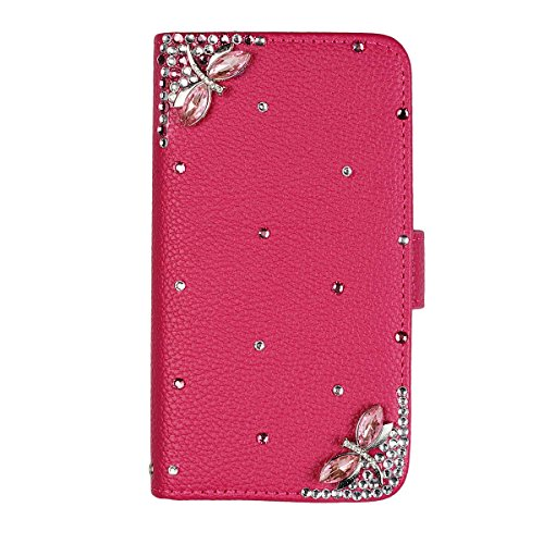 xhorizon® Auffälliger Glänzender Strass Kristall Pfau Krone DIY [Rosa-Rot] Leder Tasche Geldbeutel Stand Decke Case Hülle iPhone 5C mit einer Reinigungstuch DIY14