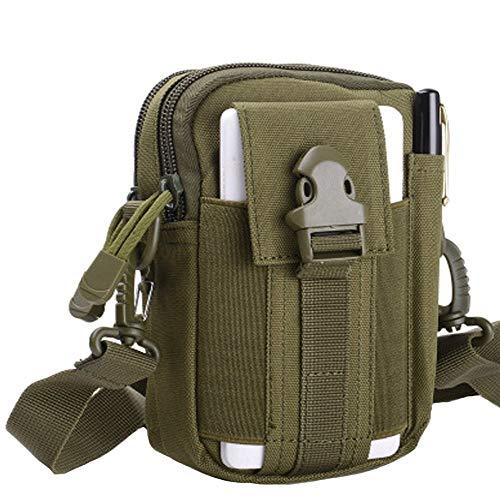 HoYiXi Bolsa de Cintura Multifuncional Riñonera Táctica Bolso de Cinturón con Bolsillo de Teléfono para Ciclismo Escalada Pesca Al Aire Libre Deporte Pequeñas Molle Militar Pouch - Ejercito Verde