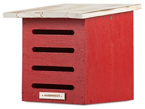 Windhager Florfliegenkasten, Winterquartier für Florfliegen, aus Massivholz, inklusive Aufhängeöse, 20 x 19 x 19 cm rot, 06996