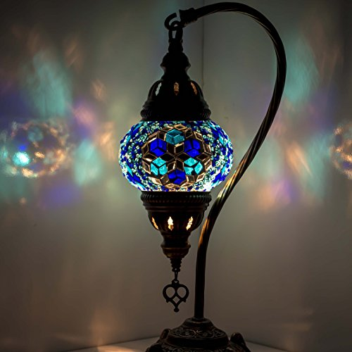 Handmade Mosaic Table/Desk Lamp, Stunning Moroccan Ottoman Style, Unique Globe Lampshade, Swan Neck Series, Size Medium
