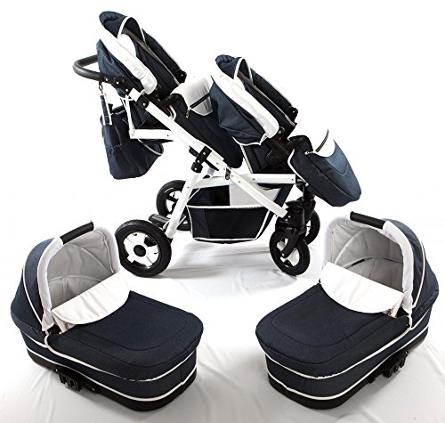Double pram for twins. 2 carrycots + 2 buggies + 2 car seats + 2 ISOFIX bases. Jeans. BBtwin Berber Carlo Directly from the factory, warranty and advice. Made un the EU according to the regulations EN1888 and ECE44/04. Jeans+white, white chassis. Includes 2 carrycots, 2 buggy seats, 2 car seats, 2 ISOFIX bases, bag, 2 footcovers, 2 rain covers, 2 mosquito nets, lower basket Features: lightweight aluminium frame, easy bending, adjustable handlebar, central brake, lockable front swivel wheels, shock absorbers, each buggy can be instaled independently in both directions, carrycots with a mattress and a washable cover, backrest adjustable in various positions, safety bar and harness of 5 points 1