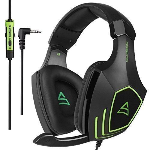 [2017 SUPSOO G820 nouvellement multi-plateforme Over Ear Xbox One casque d'écoute stéréo PS4] Casques de jeu Bass avec microphone d'isolement de bruit pour la nouvelle Xbox One PS4 PC portable Mac iPad iPod (noir et vert)