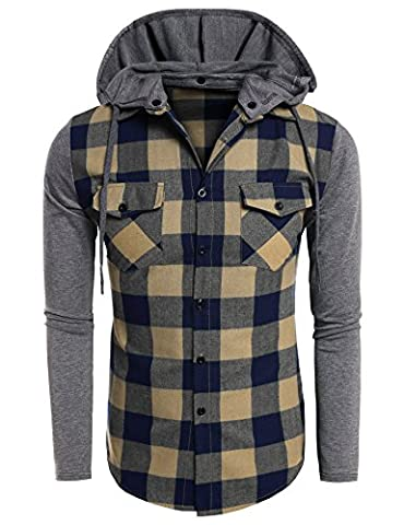 Coofandy Casual Plaid Long Sleeve T Shirts Hooded Sweatshirt
