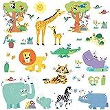 DECOWALL DW-1909 Joyeux animaux de la jungle Autocollants Muraux Mural Stickers Chambre Enfants Bébé Garderie Salon