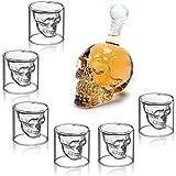 HOMFA Set de 6 vaso de cristal Vaso cerveza Vino 350ML Botella de vino Botella Cráneo Aireador de Vino 75ML Vidrio